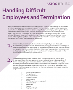 Infographic of how to handle difficult employees and termination